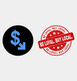 export dollar icon and grunge be loyal buy vector image vector image