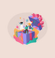 flat characters people jump out gift box vector image