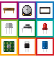 flat icon device set of bobbin hdd receiver and vector image vector image
