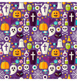 Flat Purple Halloween Party Seamless Pattern vector image