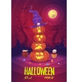 four halloween pumpkins on moon background vector image vector image