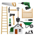 home tools set for construction and repair vector image vector image