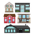 houses in flat style isolated set vector image