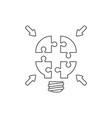 icon concept four light bulb puzzle pieces vector image