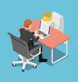 isometric businessman typing on laptop with vector image