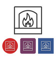 line icon fireplace vector image vector image