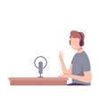 male radio host working on radio station mass vector image