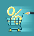 man rolls a shopping cart with a percent sign vector image vector image