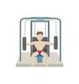 Naked man training muscles on gym machine icon vector image vector image