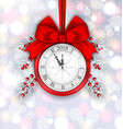 new year decoration with clock on light background vector image