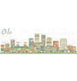 oslo norway skyline with color buildings vector image vector image