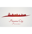 Panama City skyline in red vector image vector image