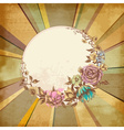 Retro floral round frame over old paper background vector image vector image
