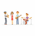 school music band - cartoon people characters vector image vector image