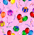 Seamless gifts and balloons pattern vector image vector image