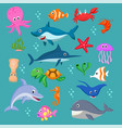 set cartoon sea animals vector image