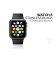 smart watch with stainless black bracelet vector image