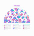 success concept in half circle with line icons vector image vector image