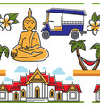 thailand symbols seamless pattern architecture vector image