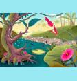 view on the forest with colored flowers and river vector image