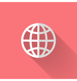 white globe icon over pink vector image vector image