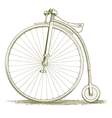 Woodcut Vintage Bicycle Drawing vector image vector image
