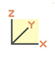xyz axis for graph statistics display icon vector image vector image