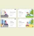 yoga flat landing page template set yoga vector image vector image