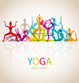 Yoga poses woman silhouette vector image