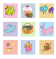 funny easter icons vector image