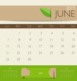 2015 calendar monthly calendar template for June vector image vector image