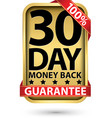 30 day 100 money back guarantee golden sign vector image vector image