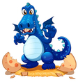 A newly hatched blue dragon vector image