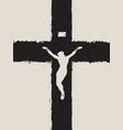 abstract black cross with a crucified jesus christ vector image vector image