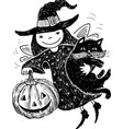 an elf witch with a halloween pumpkin and a cat vector image