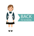 back to school kid in uniform vector image vector image