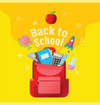 back to school sale banner poster flat design vector image