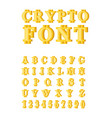 bitcoin crypto font crypto currency alphabet web vector image vector image