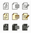 business report icons set vector image vector image