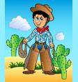 cartoon cowboy in desert vector image