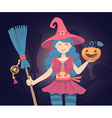 colorful halloween of witch character with b vector image