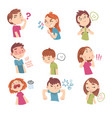 cute children with different facial expressions vector image vector image