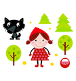 cute red riding hood icons vector image vector image