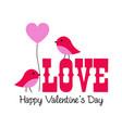 cute valentine lovebirds graphic with balloon vector image vector image