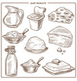 dairy products of natural milk monochrome sketches vector image