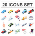 different types of transport cartoon icons in set vector image vector image