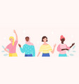 diverse female characters are standing together vector image