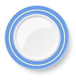 Empty plate with blue border isolated on a white vector image vector image