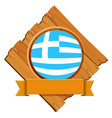 flag of greece on wooden board vector image vector image