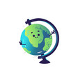 funny globe sphere cartoon character isolated on vector image vector image